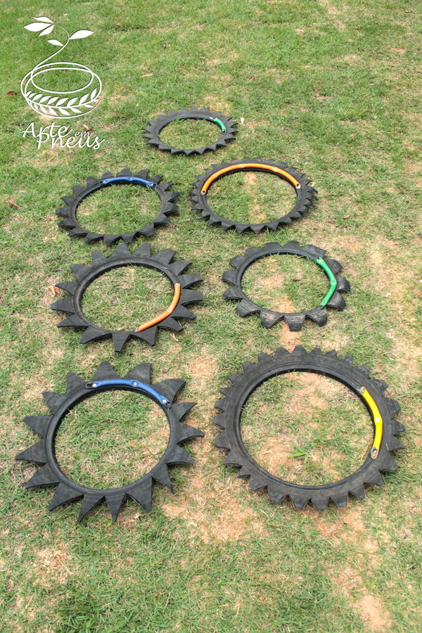 jogo amarelinha de pneu